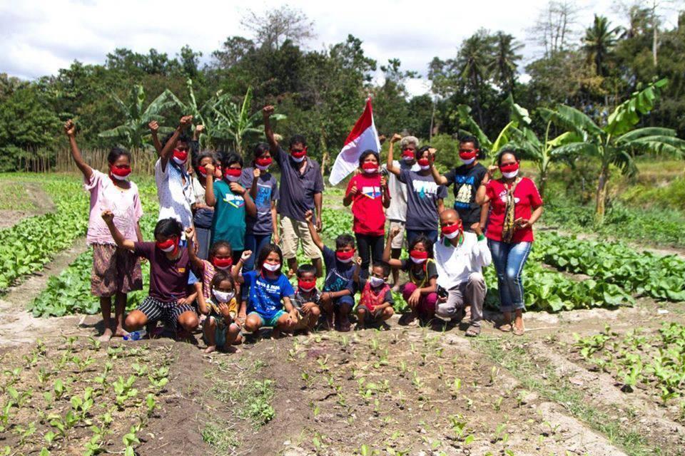 野菜を栽培する村の人たち